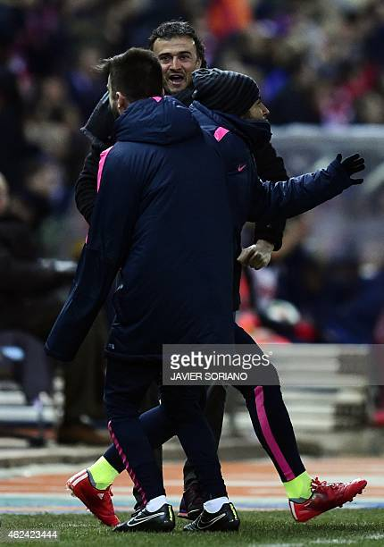 Barcelona's coach Luis Enrique celebrates after scoring their third goal during the Spanish Copa del Rey quarter final second leg football match Club...