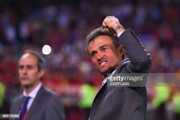 Barcelona's coach Luis Enrique celebrates their victory after the team won the Spanish Copa del Rey final football match FC Barcelona vs Deportivo...