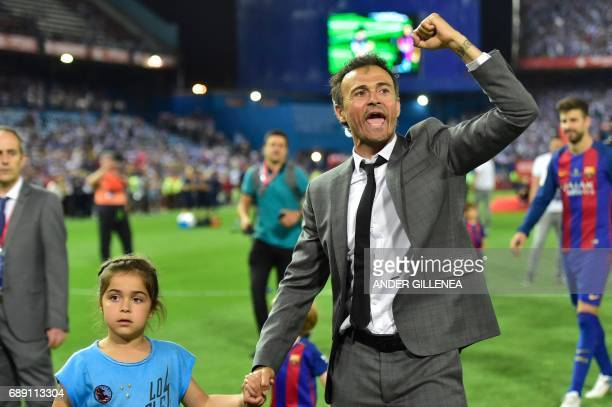 Barcelona's coach Luis Enrique celebrates their victory at the end of the Spanish Copa del Rey final football match FC Barcelona vs Deportivo Alaves...