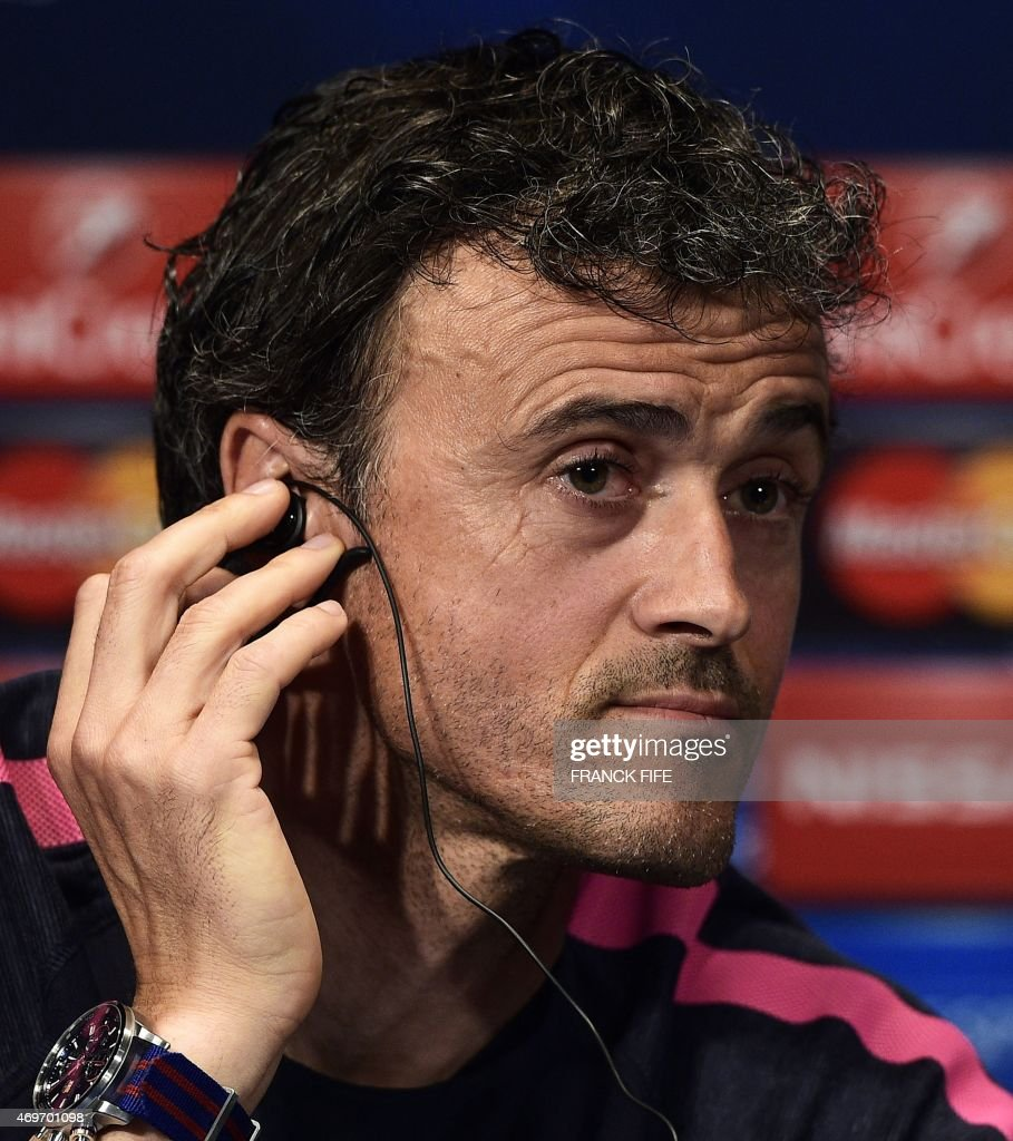 Barcelona's coach Luis Enrique looks on during a press conference at the Parc des Princes stadium in Paris on April 14, 2015, on the eve of the UEFA Champions League quarter final first leg football match Barcelona against Paris.