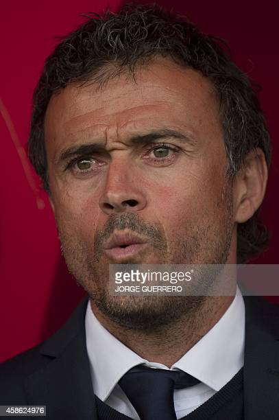 Barcelona's coach Luis Enrique Martinez looks on before the Spanish league football match UD Almeria vs FC Barcelona on November 8 2014 at Juegos...