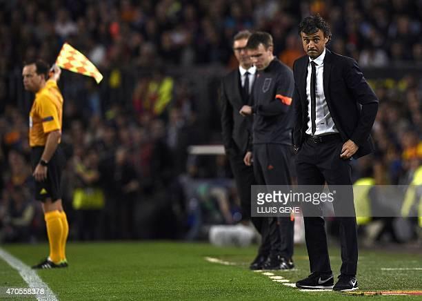 Barcelona's coach Luis Enrique reacts during the UEFA Champions League quarter-finals second leg football match FC Barcelona vs Paris Saint-Germain...