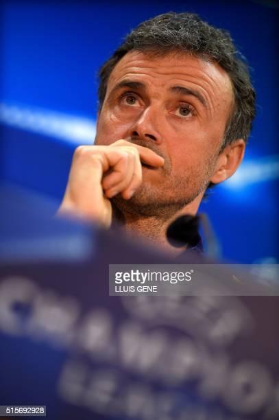 Barcelona's coach Luis Enrique speaks during a press conference at the Sports Center FC Barcelona Joan Gamper in Sant Joan Despi, near Barcelona on...