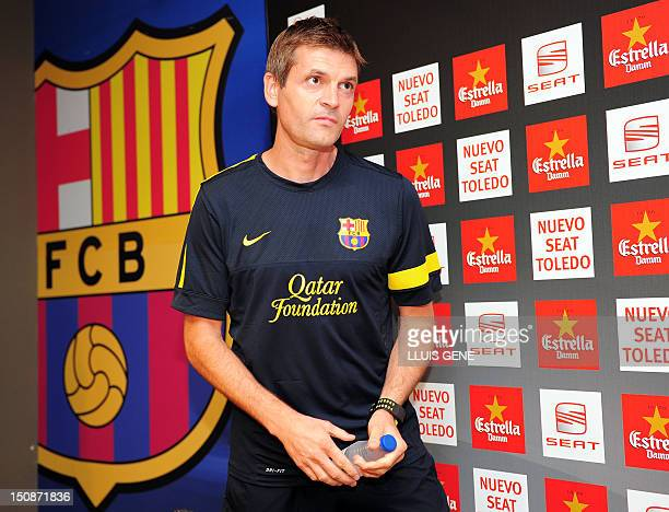 FC Barcelona's coach Tito Vilanova gives a press conference on August 28 at Camp Nou stadium in Barcelona on the eve of the Spanish Supercopa second...