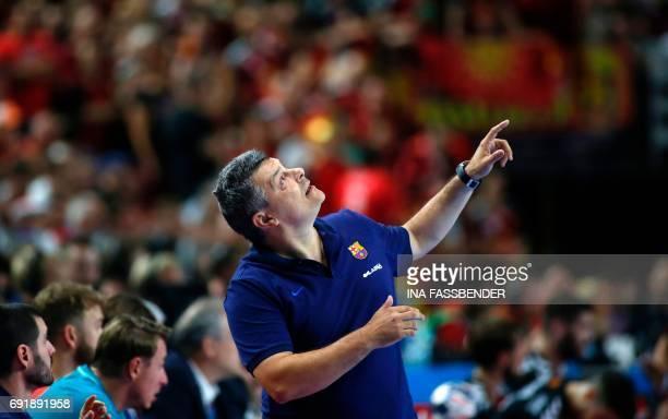 Barcelona's coach Xavi Pascual Fuentes reacts during Handball EHF Champions League Final Four semi final match between HC Vardar and FC Barcelona...