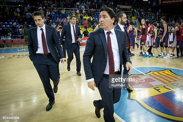 FC Barcelona's coach Xavi Pascual in action during the Turkish Airlines Euroleague playoffs round 1 basketball match against Olympiakos at Palau Blau...