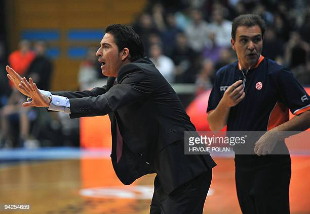 Barcelona's coach Xavier Pascual reacts next to a referee during their Euroleague basketball match against Cibona in Zagreb on December 10 2009 AFP...