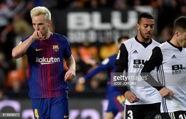Barcelona's Croatian midfielder Ivan Rakitic celebrates a goal during the Spanish 'Copa del Rey' second leg semifinal football match between Valencia...