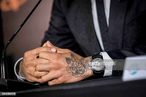 FC Barcelona's Dani Alves duing his press conference as new ambassador against the Hepatitis C for the Egyptian pharmaceutical company Pharco at the...