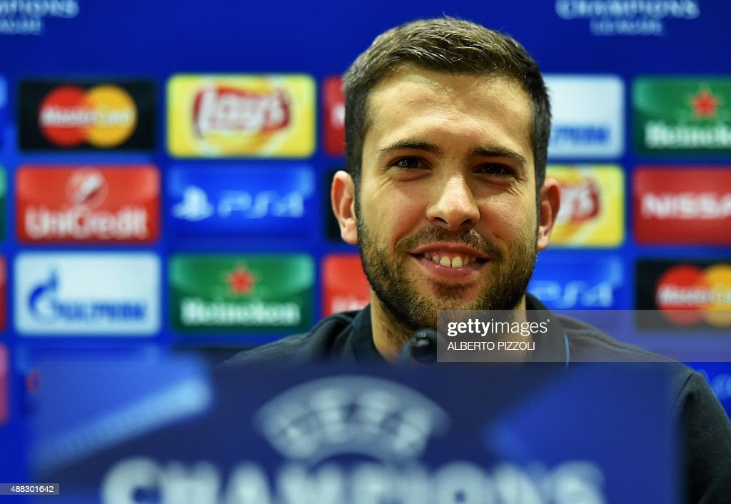 Barcelona's defender Jordi Alba speaks during a press conference at the Olympic stadium in Rome on September 15, 2015, on the eve of the UEFA Champion League match AS Roma vs FC Barcelona.