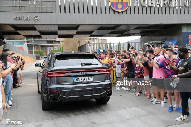 Barcelona's Dutch coach Ronald Koeman arrives to a press conference by Barcelona's Argentinian forward Lionel Messi at the Camp Nou stadium in...