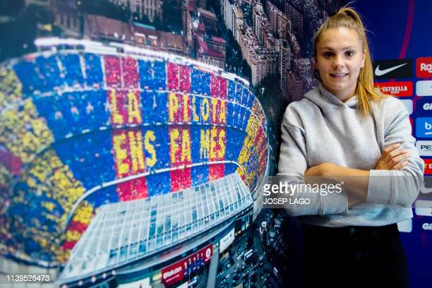 Barcelona's Dutch forward Lieke Martens poses for a picture after a training session during the 'Open Media Day' at the Sports Center FC Barcelona...