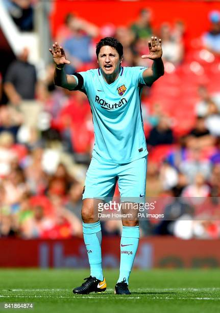 Barcelona's Edmilson during the legends match at Old Trafford Manchester