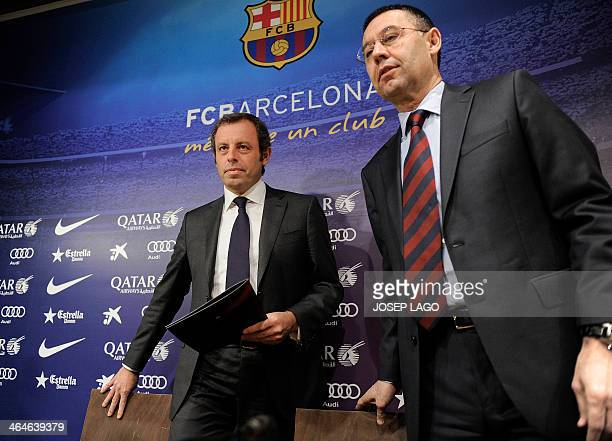 Barcelona's football club president Sandro Rosell and Barcelona's president Sandro Rosell arrive to a press conference announcing Rosell's...