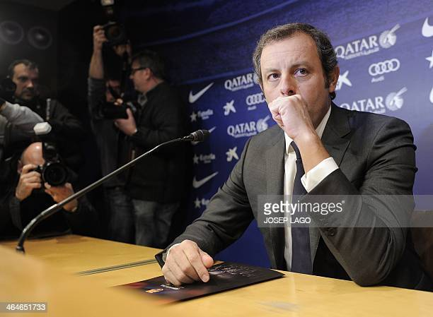 Barcelona's football club vice president Josep Maria Bartomeu sits during a press conference to announce the resignation of club president Sandro...
