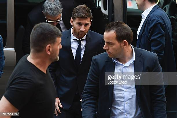 Barcelona's football star Lionel Messi arrives at the courthouse on June 2 2016 in Barcelona where Messi and his father are to face judges in a tax...