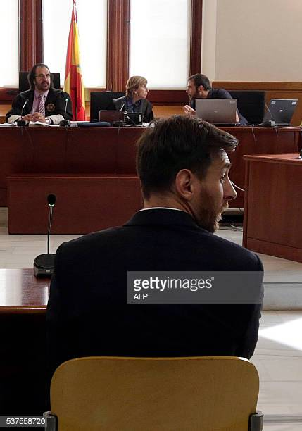 Barcelona's football star Lionel Messi listens as he faces judges in a tax fraud case at the courthouse of Barcelona on June 2 2016 The 28yearold...