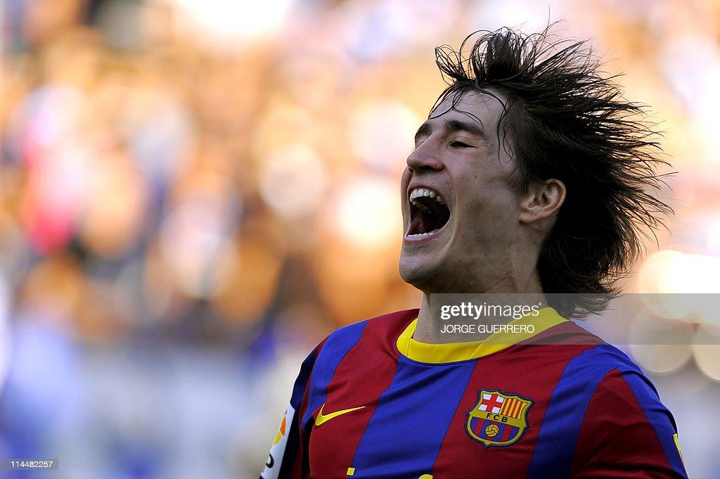 Barcelona's forward Bojan Krkic celebrat : News Photo