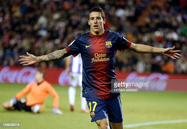 Barcelonas Forward Cristian Tello Celebrates After Scoring During The Spanish League Football Match Real Valladolid Vs