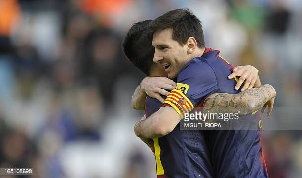 Barcelonas Forward Cristian Tello Celebrates With His Teammate Argentinian Lionel Messi After Scoring During The