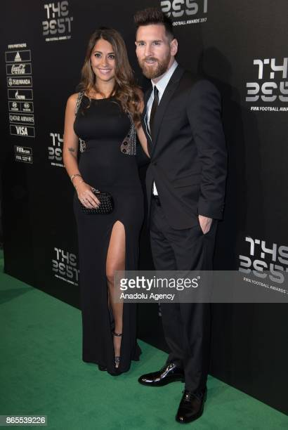 Barcelona's forward Lionel Messi and his wife Antonella Roccuzzo arrive for the The Best FIFA 2017 Awards at the Palladium Theatre in London England...