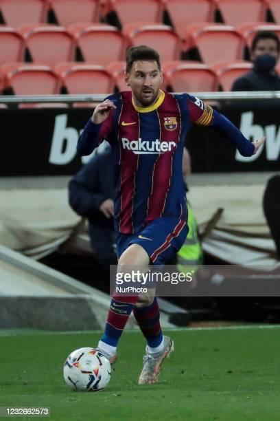 Barcelona's forward Lionel Messi during spanish La Liga match between Valencia cf and Futbol Club Barcelona at Mestalla Stadium on May 2, 2021 in...