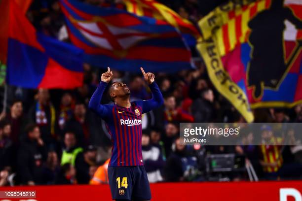 Barcelona's forward Malcom celebrate after scoring the 1-1 goal during semifinal of spanish King Cup frist leg match between FC Barcelona and Real...
