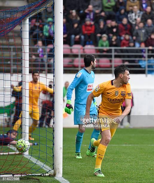 Barcelona's forward Munir El Haddadi celebrates after scoring during the Spanish league football match SD Eibar vs FC Barcelona at the Ipurua stadium...