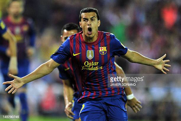 Barcelona's forward Pedro Rodriguez celebrate after scoring his team's first goal during the Spanish King's Cup final football match between Athletic...