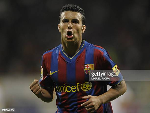 Barcelona's forward Pedro Rodriguez celebrates after scoring against Cultural Leonesa during their Spanish King´s Cup football match at the Reino de...