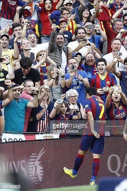 Barcelona's forward Pedro Rodriguez celebrates after scoring during the Spanish league football match FC Barcelona vs Real Sociedad de Futbol at the...