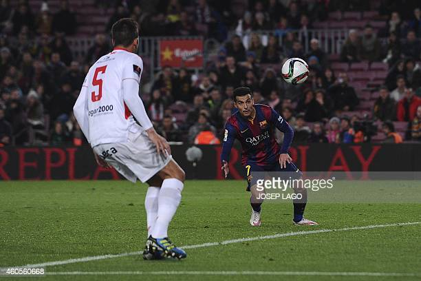 Barcelona's forward Pedro Rodriguez scores during the Spanish Copa del Rey round of 32 second leg football match FC Barcelona vs SAD Huesca at the...