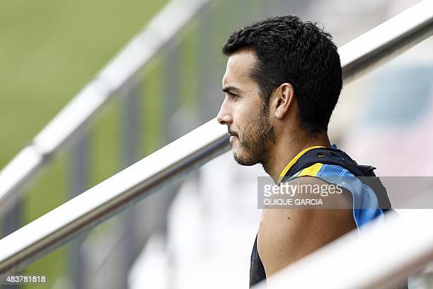 Barcelona's forward Pedro Rodriguez takes part in a training session at the Sports Center FC Barcelona Joan Gamper in Sant Joan Despi near Barcelona...