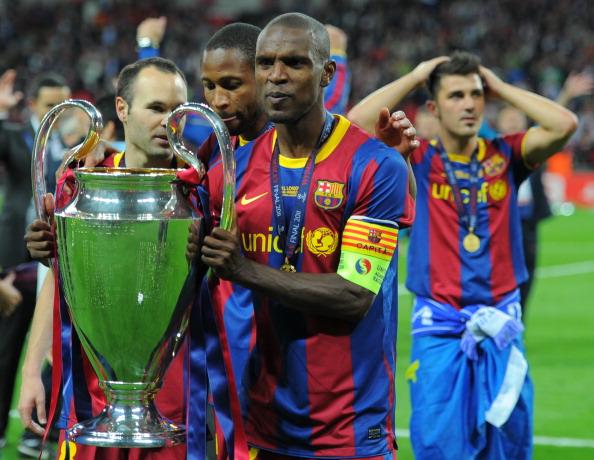 Barcelona's French defender Eric Abidal : News Photo