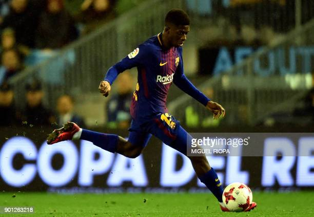 Barcelona's French forward Ousmane Dembele controls the ball during the Spanish Copa del Rey football match RC Celta de Vigo vs FC Barcelona at the...