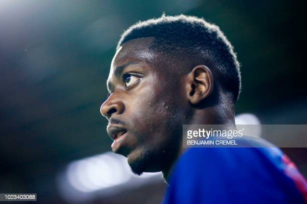 Barcelona's French forward Ousmane Dembele looks on during the Spanish league football match between Real Valladolid and FC Barcelona at the Jose...