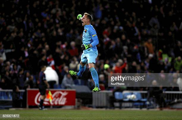 Barcelona's German goalkeeper Marc-Andr�� Ter Stegen celebrates a goal during the Spanish Kings cup 2014/15 match between Atletico de Madrid and FC...
