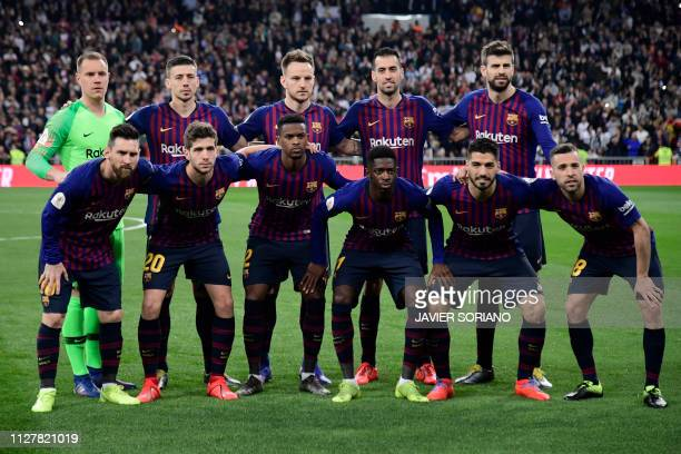 Barcelona's German goalkeeper MarcAndre Ter Stegen Barcelona's French defender Clement Lenglet Barcelona's Croatian midfielder Ivan Rakitic...