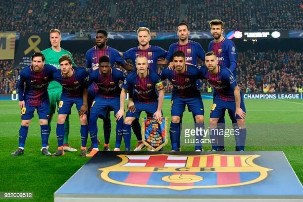 Barcelona's German goalkeeper MarcAndre Ter Stegen Barcelona's French defender Samuel Umtiti Barcelona's Croatian midfielder Ivan Rakitic Barcelona's...