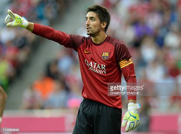 Barcelona's goalkeeper Oier Olazabal reacts during the friendly football Uli Hoeness Cup match between FC Bayern Munich and FC Barcelona in the...