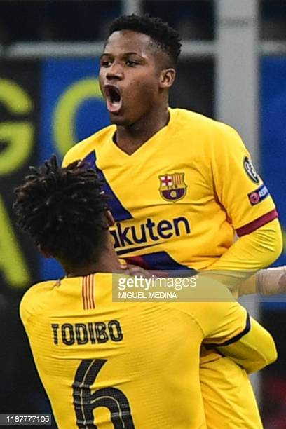 Barcelona´s Guinea-Bissau forward Ansu Fati celebrates after scoring during the UEFA Champions League Group F football match Inter Milan vs Barcelona...