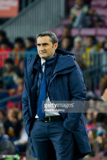 Barcelona's Head Coach Ernesto Valverde gestures during the Spanish Copa del Rey football match between FC Barcelona and Murcia CF at the Camp Nou...