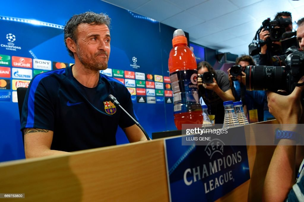 Barcelona's head coach Luis Enrique arrives for a press conference at the Joan Gamper Sports Center in Sant Joan Despi, near Barcelona, on April 18, 2017 on the eve of the UEFA Champions League quarter-final second leg football match FC Barcelona vs Juventus. /
