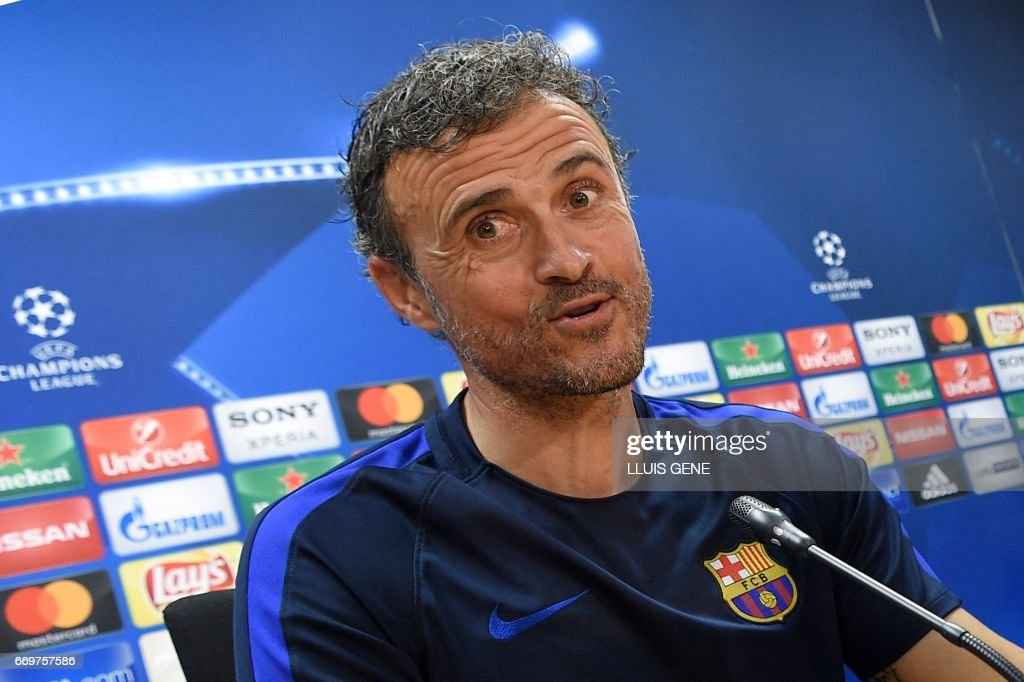 Barcelona's head coach Luis Enrique jokes during a press conference at the Joan Gamper Sports Center in Sant Joan Despi, near Barcelona, on April 18, 2017 on the eve of the UEFA Champions League quarter-final second leg football match FC Barcelona vs Juventus. /