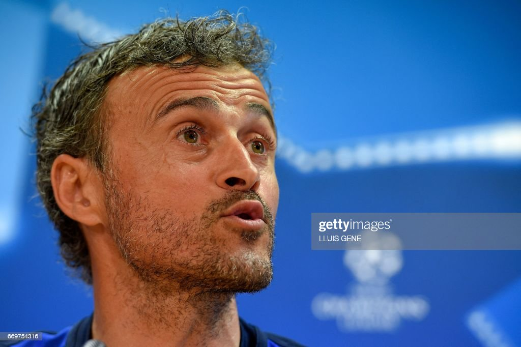 Barcelona's head coach Luis Enrique speaks during a press conference at the Joan Gamper Sports Center in Sant Joan Despi, near Barcelona, on April 18, 2017 on the eve of the UEFA Champions League quarter-final second leg football match FC Barcelona vs Juventus. /