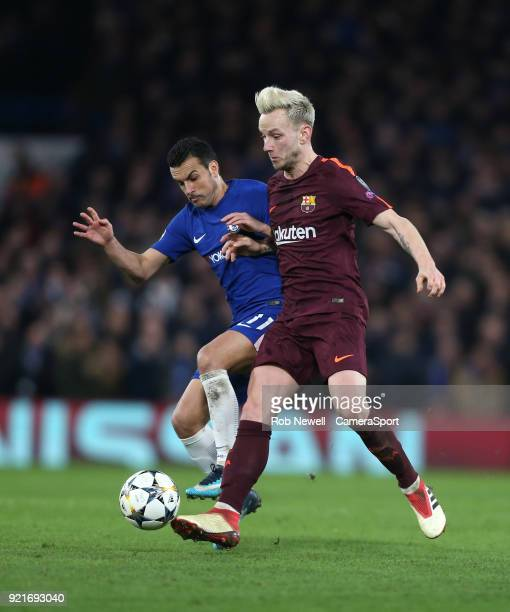 Barcelona's Ivan Rakitic and Chelsea's Pedro during the UEFA Champions League Round of 16 First Leg match between Chelsea FC and FC Barcelona at...