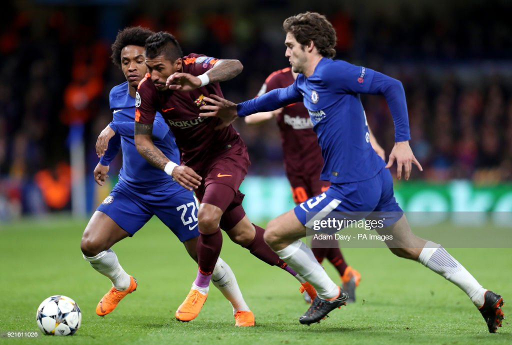 Barcelona's Jose Paulo Paulinho (centre) breaks through Chelsea's Willian (left) and Marcos Alonso (right) during the UEFA Champions League round of sixteen, first leg match at Stamford Bridge, London.
