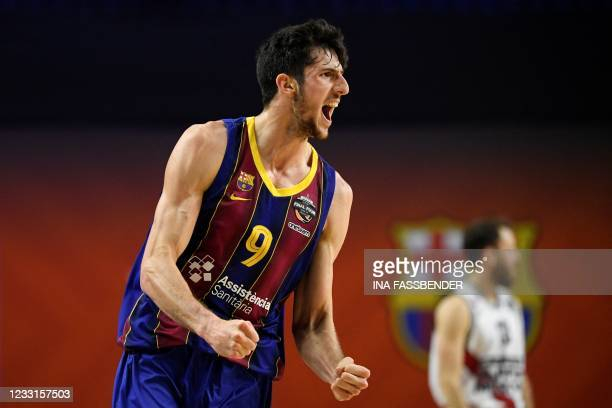 Barcelona's Leandro Bolmaro cheers during the Basketball Euroleague Final Four championship semi-final match between FC Barcelona and Pallacanestro...
