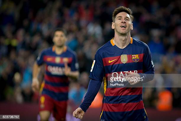 Barcelona's Leo Messi cellebrating his score during the spanish football league between FC Barcelona and Sporting de Gijon at Camp Nou Stadium on...