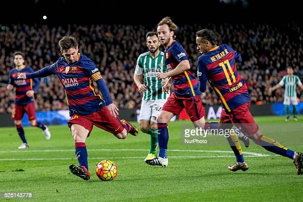 Barcelona Catalonia Spain December 30 Barcelona's Leo MEssi Ivan Rakitic and Neymar Jr in action during the spanish football league between FC...
